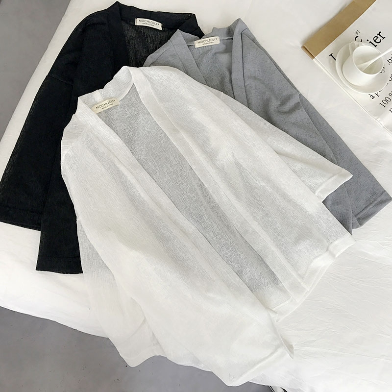 白色雪纺衫 人手一件好穿实用的薄款开衫 纯色百搭防晒衣女雪纺短款披肩外套_推荐淘宝好看的白色雪纺衫