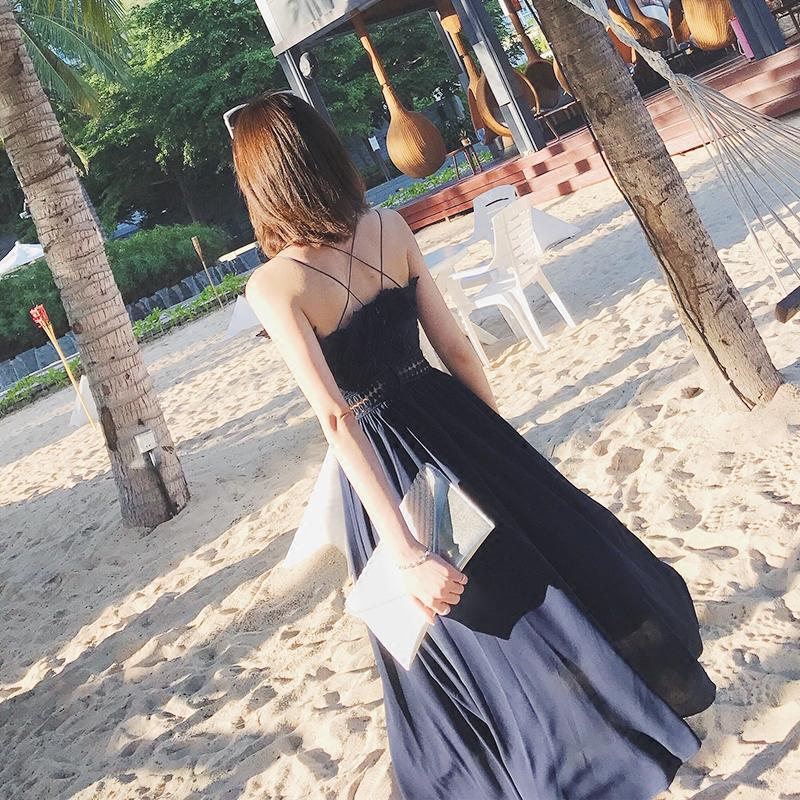 吊带连衣裙 蕾丝绣花吊带连衣裙V领露肩背带长裙仙女海边沙滩度假雪纺裙子夏_推荐淘宝好看的吊带连衣裙