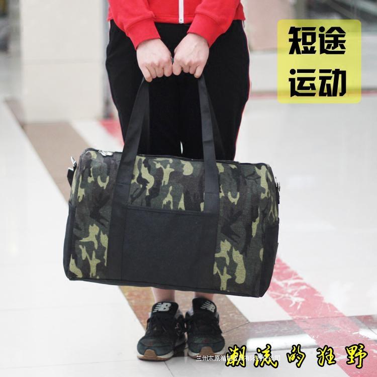 旅行帆布包 迷彩潮流 短途小容量帆布行李包男 手提旅行袋单肩包运动健身包女_推荐淘宝好看的女旅行帆布包