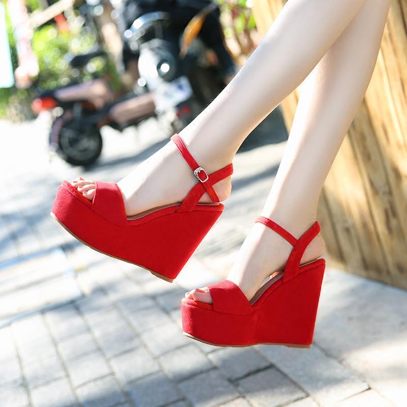 红色鱼嘴鞋 2019夏季新款红色超高跟坡跟厚底女凉鞋防水台鱼嘴露趾松糕女鞋_推荐淘宝好看的红色鱼嘴鞋