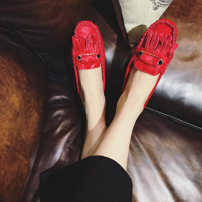 红色豆豆鞋 2018春秋新款社会真皮马毛豆豆鞋女士流苏单鞋红色百搭平底孕妇鞋_推荐淘宝好看的红色豆豆鞋