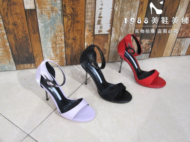 紫色鱼嘴鞋 紫色细跟凉鞋潮夏季新款名媛一字扣带露趾10CM高跟凉鞋女红色XYFF_推荐淘宝好看的紫色鱼嘴鞋