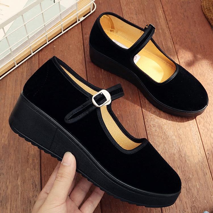 黑色坡跟鞋 老北京布鞋女厚底坡跟黑色工作鞋职业酒店上班鞋一字扣带女鞋单鞋_推荐淘宝好看的黑色坡跟鞋