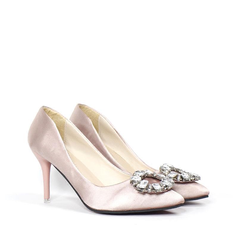 粉红色尖头鞋 高跟鞋女2018春秋水钻尖头浅口绸缎粉红色8cm细跟性感宴会单鞋_推荐淘宝好看的粉红色尖头鞋