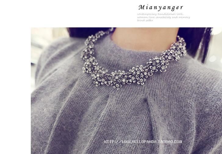 Ожерелье Корейский моды ювелирных Винтаж алмаз стерео дикие цветы короткое ожерелье воротник кости цепи по электронной почте