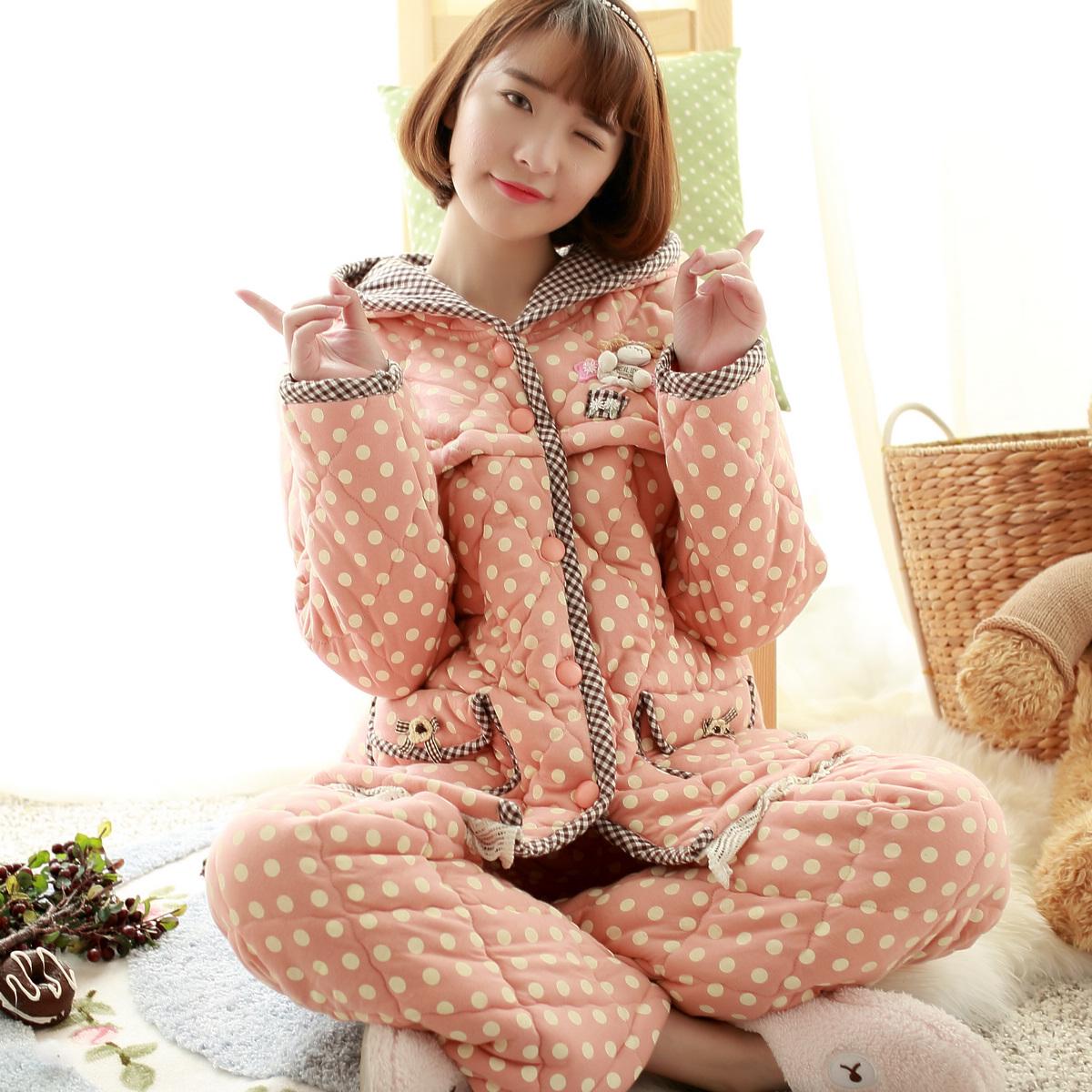 冬纯棉月子服加厚三层夹棉袄哺乳睡衣秋冬喂奶衣孕妇长袖哺乳套装