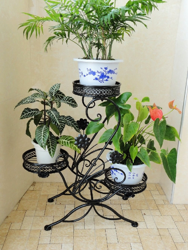 铁艺花架 客厅阳台落地向日葵花盆架 白色拆装花几多层架 原价180.