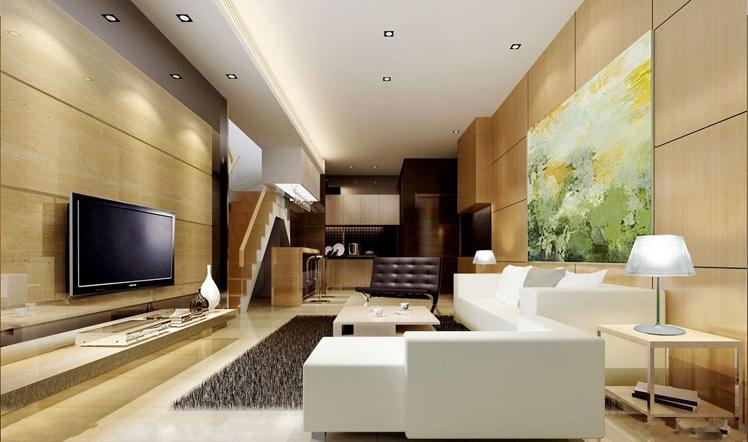 装修设计效果图 现代简约 客厅 装潢 农村自建房装修详情图