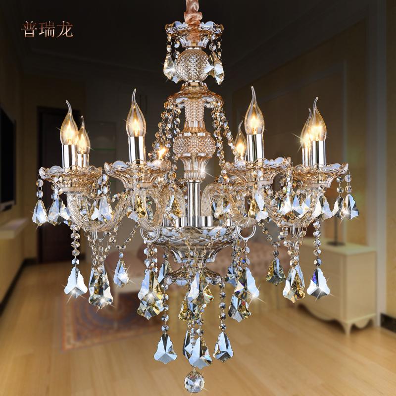 正品打折奢华干邑色欧式蜡烛水晶吊灯饰 客厅灯餐厅吊灯卧室灯具出口