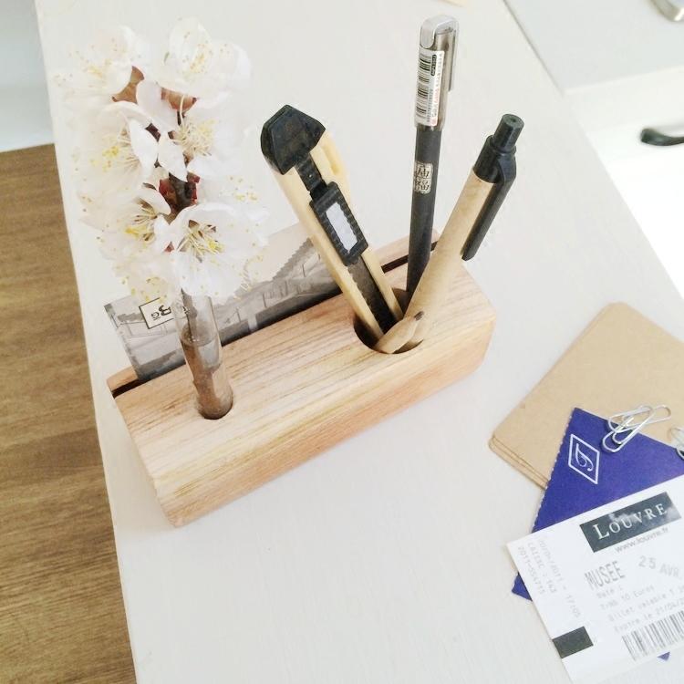 实木多功能笔座|玻璃管插花笔筒木质名片座办公室文具桌面收纳