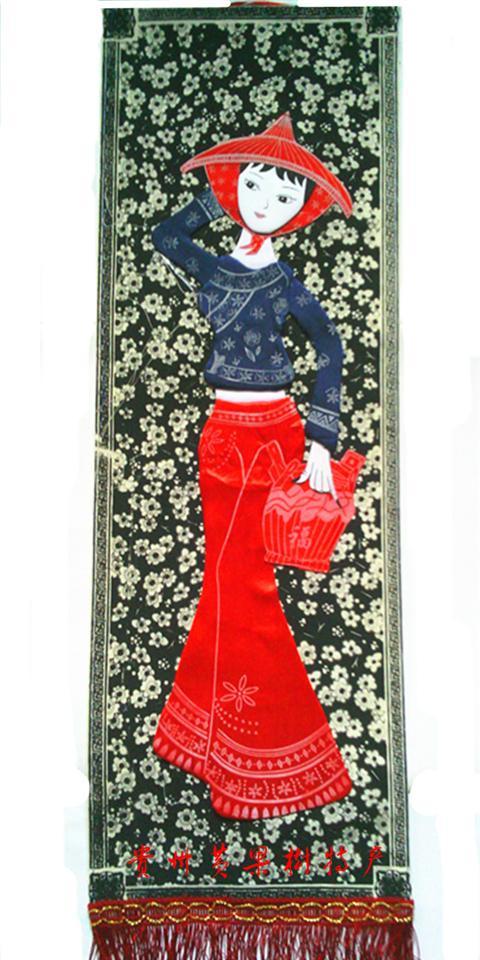 工艺品苗族蜡染布艺贴画幼儿园装饰壁挂工艺品,工艺品折扣网,
