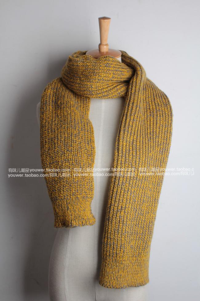 шарф Корейские осень зима, Ультра толстые грубой шерсти шарф длинный двойной женщин вязаный шарф мужской головы корейской версии потоков