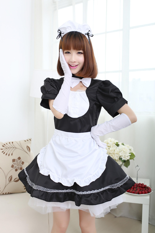 包邮秋叶原cosplay 黑白女仆装动漫演出 咖啡餐厅厨娘情趣女佣服 12