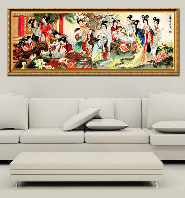 印花红楼梦十字绣 红楼十二金钗十字绣琴棋书画 最新款客厅仕女图