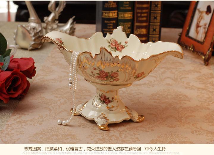 品打折高档奢华象牙瓷果盘 欧式复古家居装饰果盆 时尚创意陶瓷大水