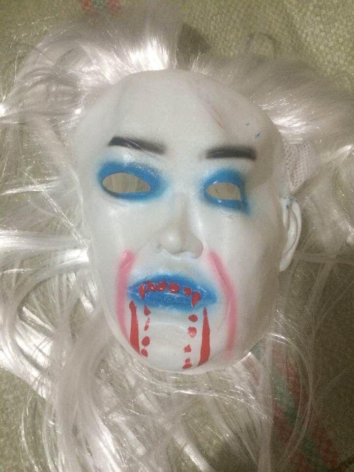 整蛊恐怖鬼面具吓人僵尸万圣节鬼脸白发魔女面具万圣节面具