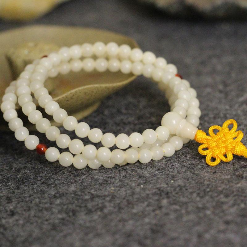 Четки Натуральный белый Лайм 5 мм 6 мм 108 216 бисером браслеты дамы пояса китайский узел пути Zi