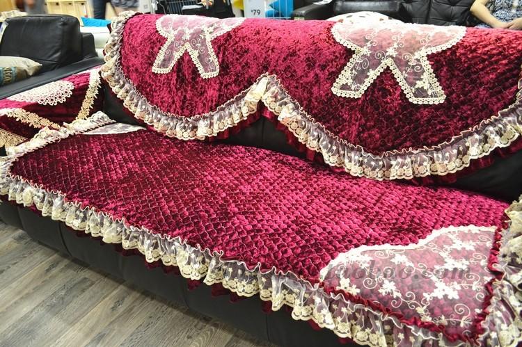 金丝绒皮沙发垫布艺防滑 春秋厚实蕾丝沙发坐垫 沙发巾套欧式定做