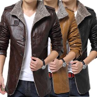 加绒大码海宁pu男皮衣中长款皮毛一体加厚皮尤外套修身冬装皮夹克