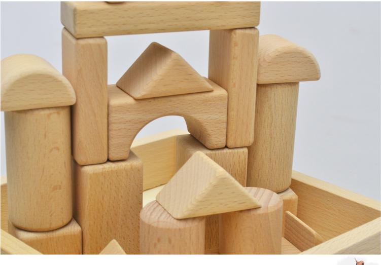 可啃咬32粒原木积木榉木玩具实木制不上漆100%a原木益智1-3岁眼睛芭比娃娃的大块图片