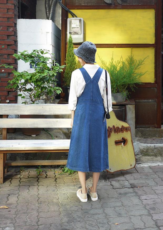 Женское платье Новый ослабление код весной и летом в джинсовый комбинезон длинный высокий разрез сбоку от талии для похудения платья