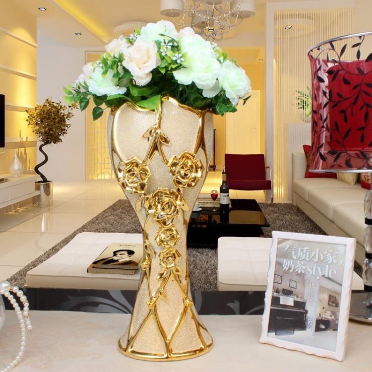 欧式陶瓷电镀落地花瓶家居装饰品摆件电视柜客厅摆设