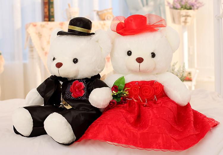 毛绒玩具大号婚纱熊婚庆泰迪熊公仔娃娃情侣压床礼物一对v大号玩具佩奇新婚小猪北美游戏图片