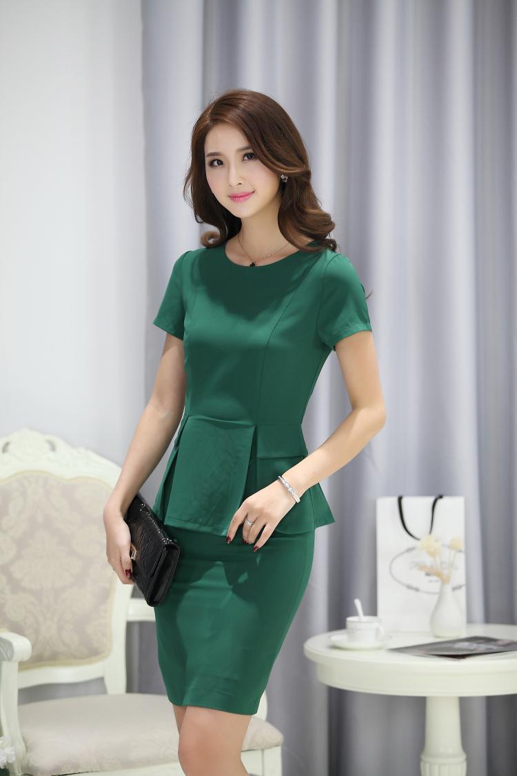 Офисный костюм OL летом носить платье два куска плюс размер женщин костюмы оснастки Униформа пакет хип воланом платье