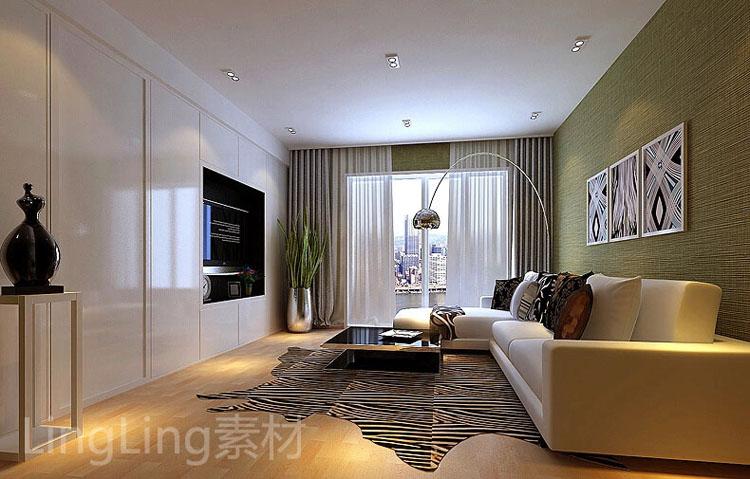 三居室内三室两厅装修效果图家居房子装修设计图三房一厅家庭样板高清图片
