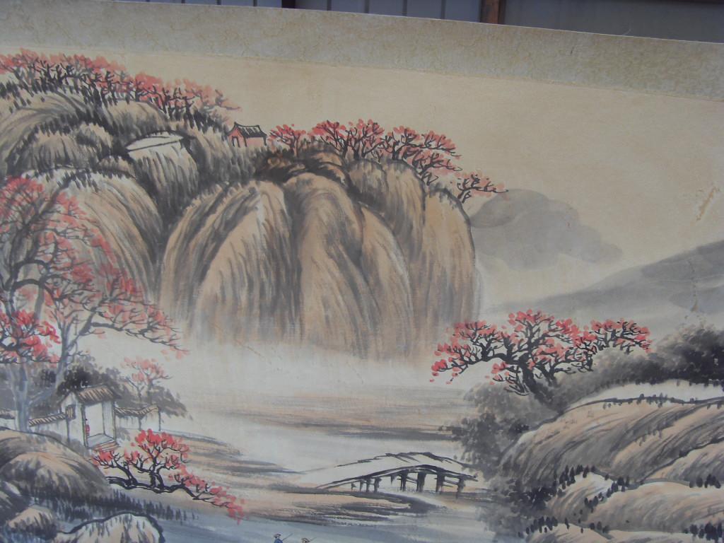 正品打折近代名家国画山水老字画收藏字画八尺横幅山水名家吴石仙山