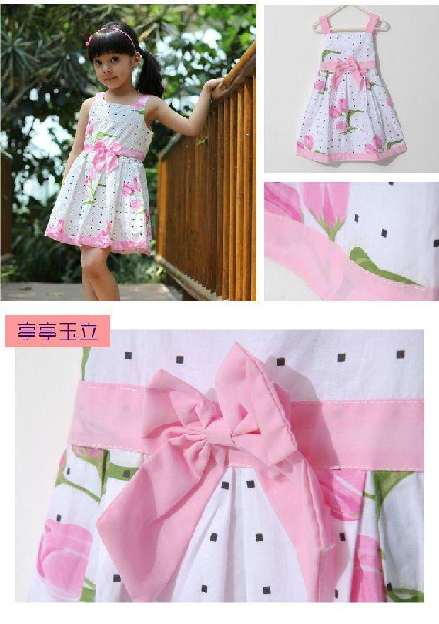 纯棉2014新款童装女童连衣裙夏装小女孩吊带裙儿童公主裙高清图片