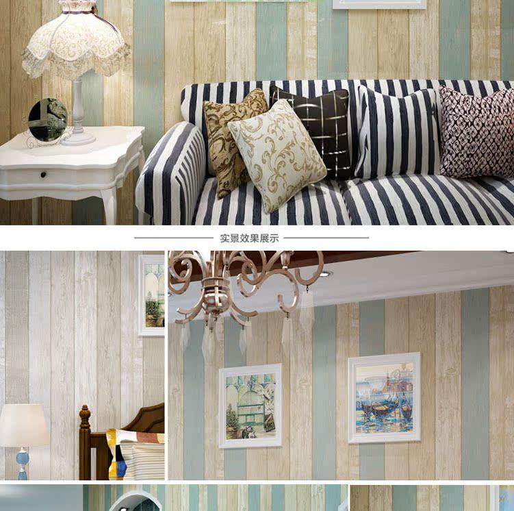正品美式乡村壁纸卧室复古竖条木纹做旧蓝色地中海