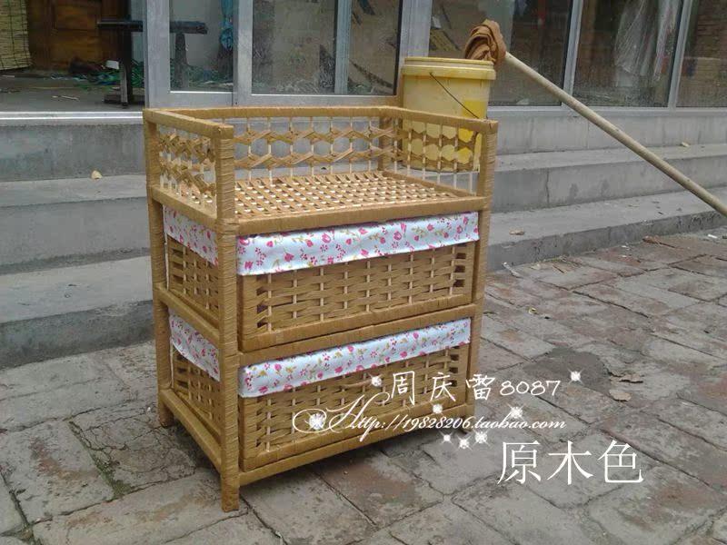 欧式草柳床头柜田园简约抽屉柜衣柜收纳柜储物柜书架促销 原价35.