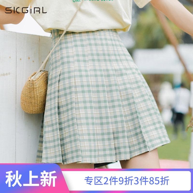 高腰拉链格子百褶短裙2020夏季新款韩版学生修身显瘦半身裙ins潮