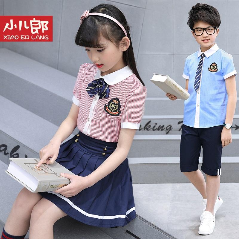 夏季2021新款童装男女童套装中小学班服校服学院风短袖幼儿园园服
