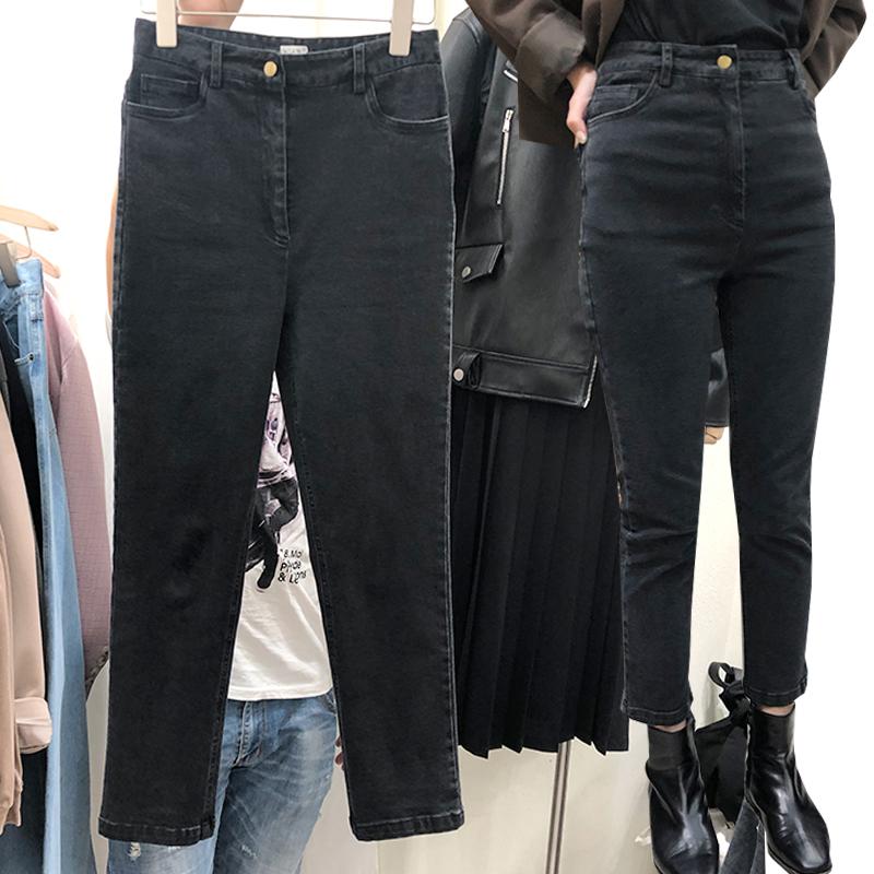 2019新款女装大码高腰牛仔裤女直筒烟管裤显瘦加绒黑色裤子女秋冬