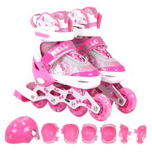 Hello Kitty skates, girls, children's suits, straight row roller skates, 3-5-6-8-10 year old Hello Kitty