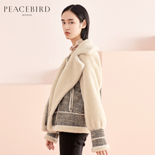 Fur jacket winter dress 2018 new fashion simple Plaid stitching Wool Jacket Women Taiping bird dress