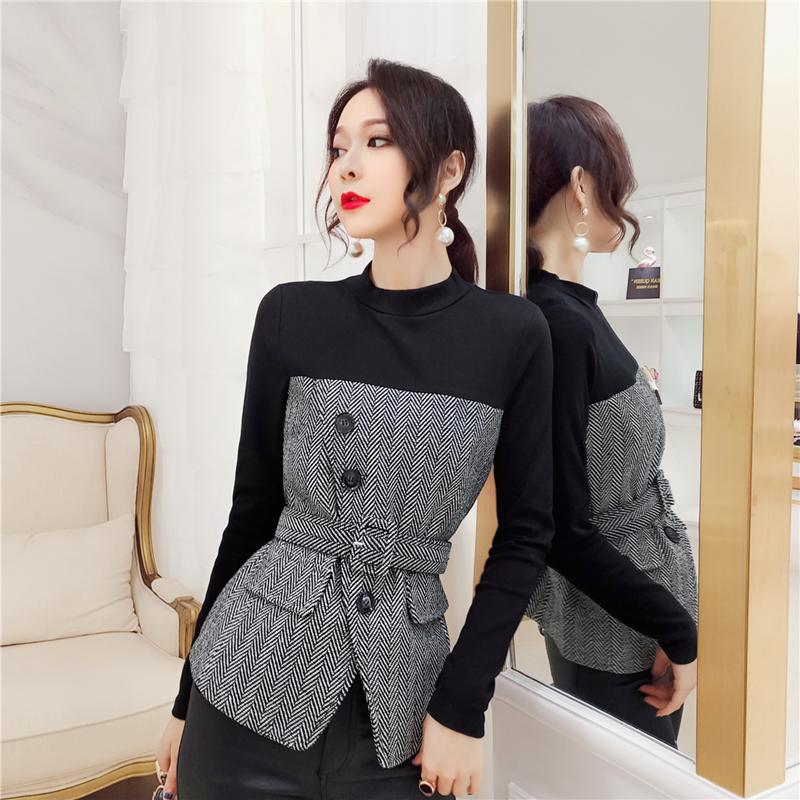 韩衣女王气质拼接上衣女2020秋装新款韩版长袖百搭收腰洋气打底衫