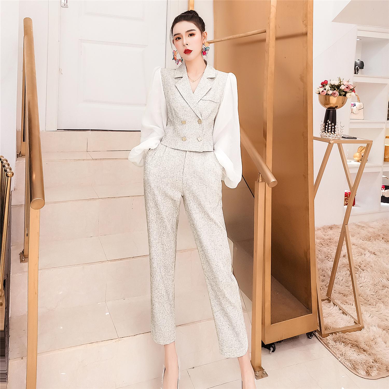 2020秋装法式设计感两件套西装套装女显瘦短上衣+休闲裤气质套装