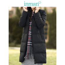 Inman Anti-season Special Sell New Pure-color Leisure Cap Mid-long Down Dress Coat Female Literature and Arts Female Wear Warm