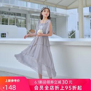 现货156件! 原创设计森女部落仙境情歌温柔风紫色连衣裙仙女裙