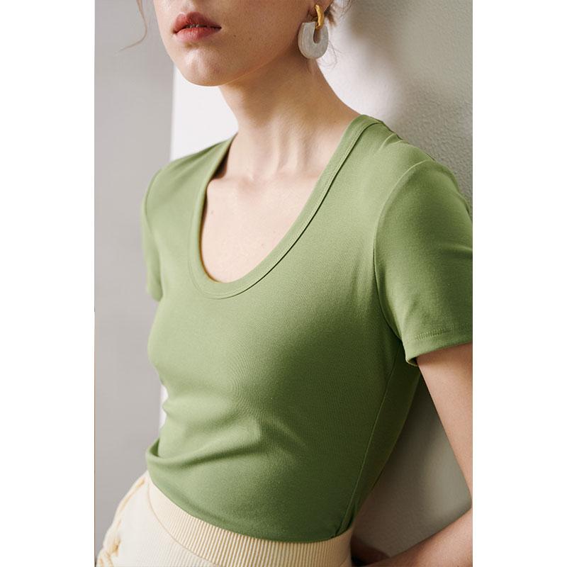 RoseLingLing百搭基礎系列 經典U型領  高彈修身棉短袖T恤女夏季