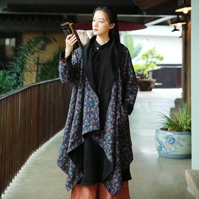 2020春新款女装复古中式民族风中长款外套文艺百搭风衣  双面可穿