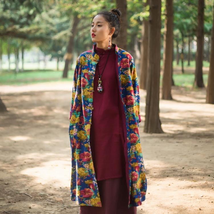 复古民族风女装春款长棉麻复古外套宽松中式花色袍子过膝风衣长衫