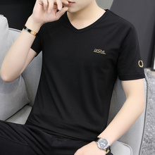 2 Men's Short Sleeve T-shirt, Modal Cotton V-neck Bottom Shirt, Men's Ice Silk Half-sleeve Clothing Fashion T-shirt