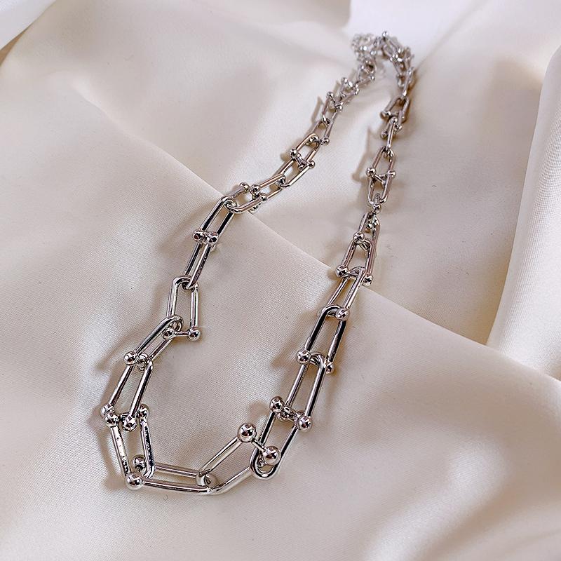 欧美项链女U型街头金属链条嘻哈冷淡风ins潮个性小众choker锁骨链
