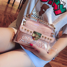 French high-class feeling small crowdsourcing lady 2019 new tidal ocean style summer Baitao transparent jelly fashion oblique Bag