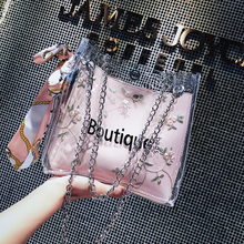 Summer transparent French crowdsourcing Bag Girl 2019 new style of red one-shoulder jelly bag with slanting chain