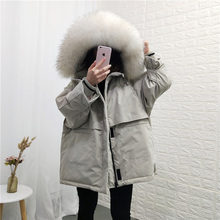 Anti-season Down Dress Female 2019 New Korean Big-collar Bf Tool Jacket Loose Chic Style Overcame the Thickening Tide